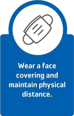 Wear a facemask and maintain physical distance.