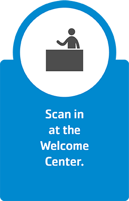 Scan in at the Welcome Center